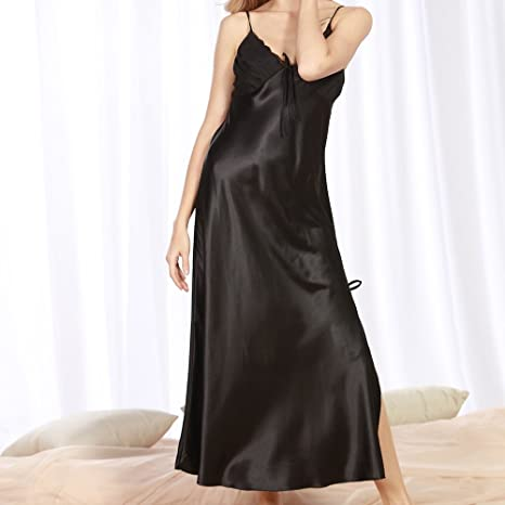 7369f34ecd Manka Vesa Women Sexy Long Satin Bow Chemises Nightdress Full Split Sling Dress  Sleepwear at Amazon Women s Clothing store