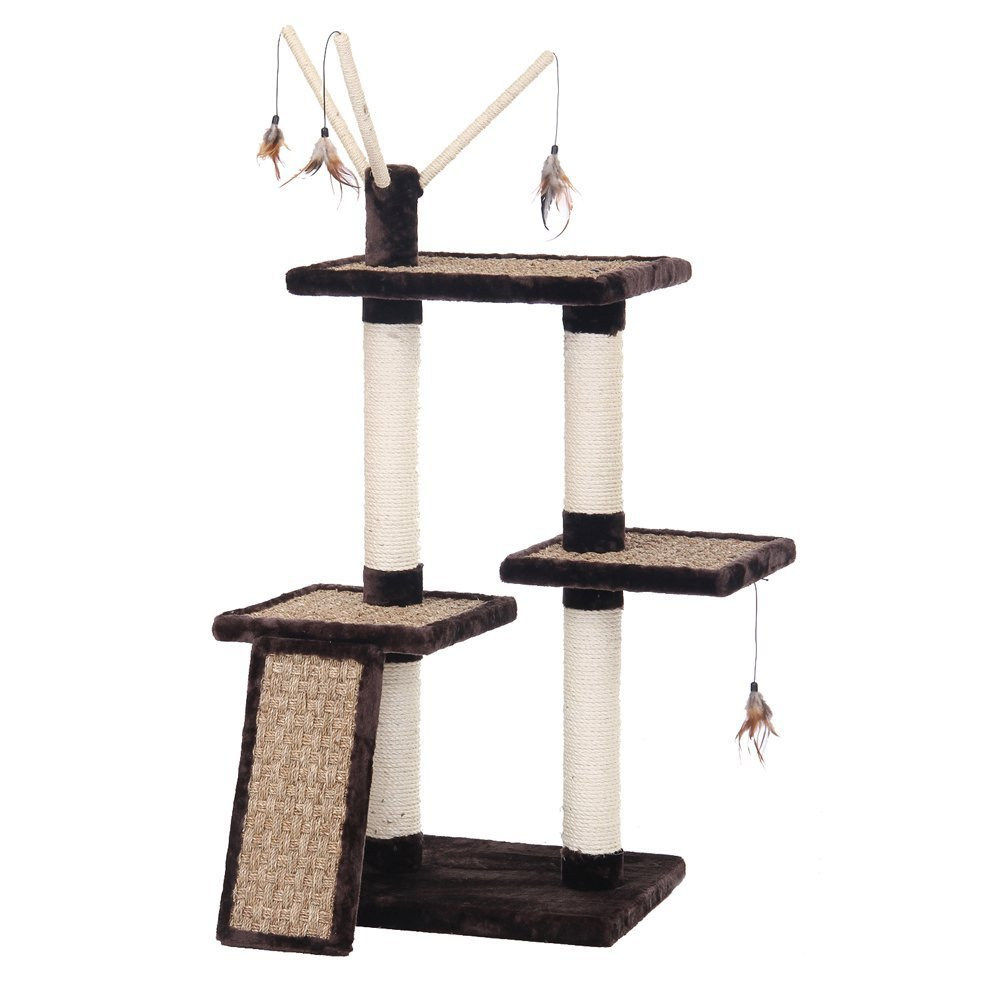 Pen-Plax CATF100 3 Level Deluxe Climber Furniture with Scratch Pad and Small Wing Toy