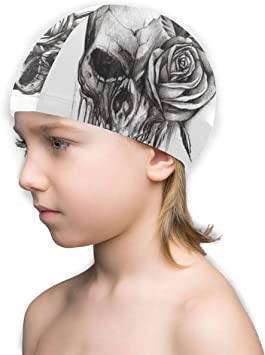 Junior Long Hair Swim Cap for kids with very long hair or braids Black