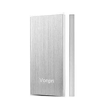 Vonpri 10000mAh Cargador Portátil, Batería Externa 2 Puertos USB Salida Power Bank para Smartphones Samsung Huawei iPhone y Más (Plata)