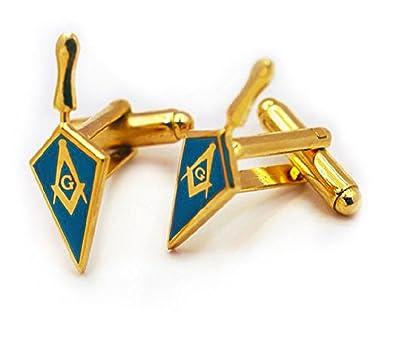 Masonic Lodge Blue Trowel Cufflinks Gold Color With Classic Freemasons Symbol
