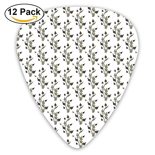 Newfood Ss Curvy Plant Branches With Leaves In Dark Colors Autumn Season Wildflowers Guitar Picks 12/Pack Set