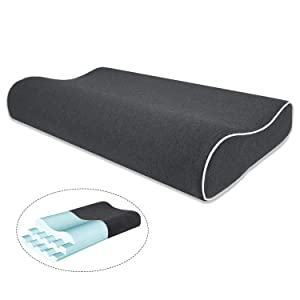 Mugetu Gel Infused Memory Foam Pillow Height Adjustable Cervical Pillow