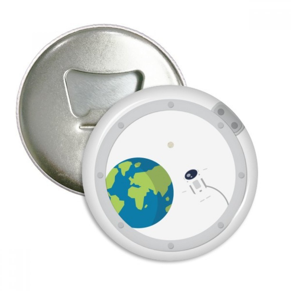 Universe And Alien Out Of Window Round Bottle Opener Refrigerator Magnet Badge Button 3pcs Gift