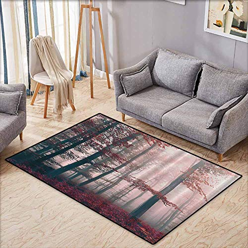 Custom Door Rugs for Home Rugs Woodsy Red Mystic Forest Mystical Charcoal Foggy Country Decor Photography Enchanted Forest Wild Jungles Ombre Digital Print with Anti-Slip Support W7'8 xL4'9