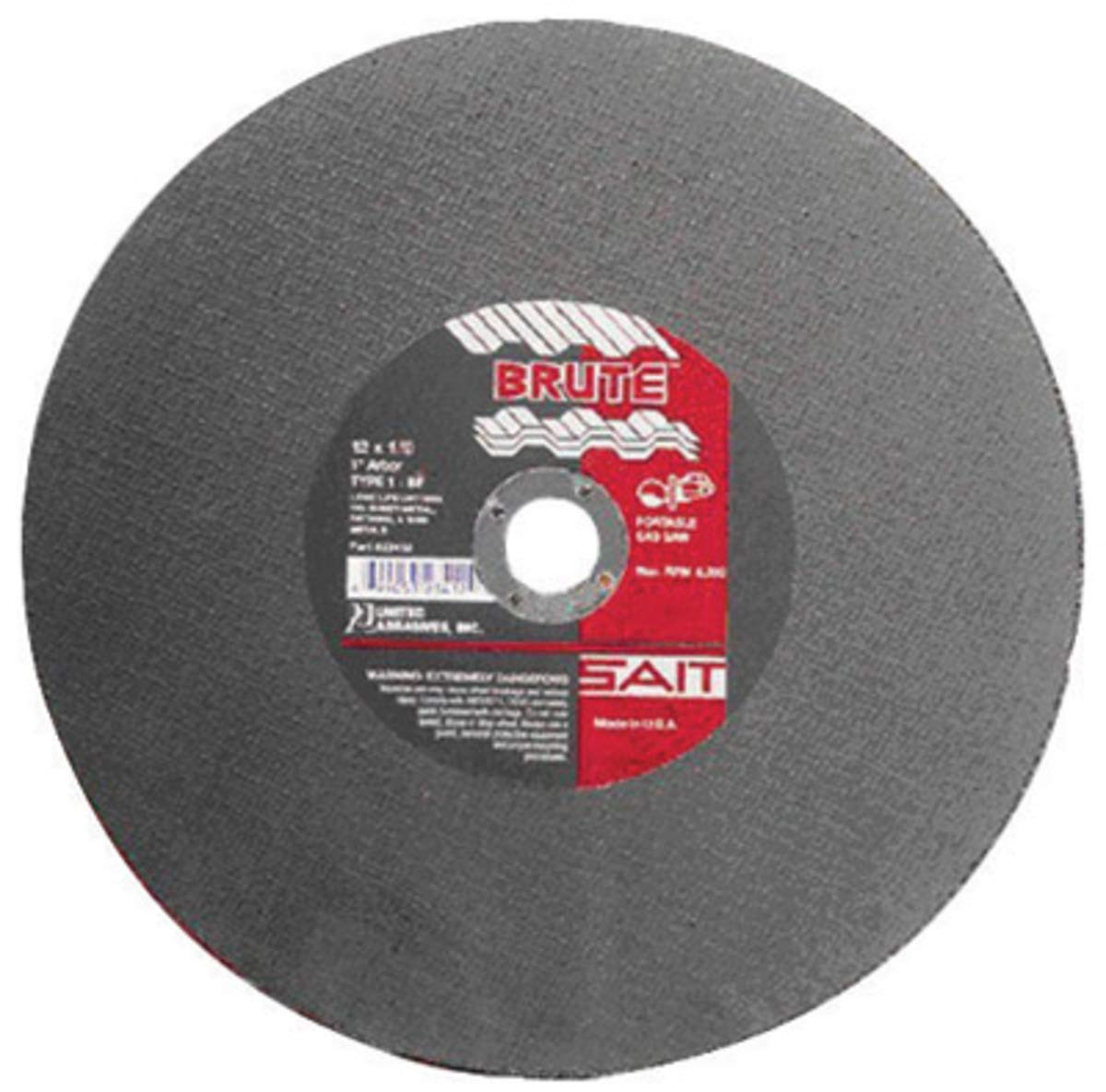 United Abrasives 12'' X 1/8'' X 1'' Brute Proprietary Blend Type 1 Cut Off Wheel, Package Size: 10 Each by United Abrasives Inc.