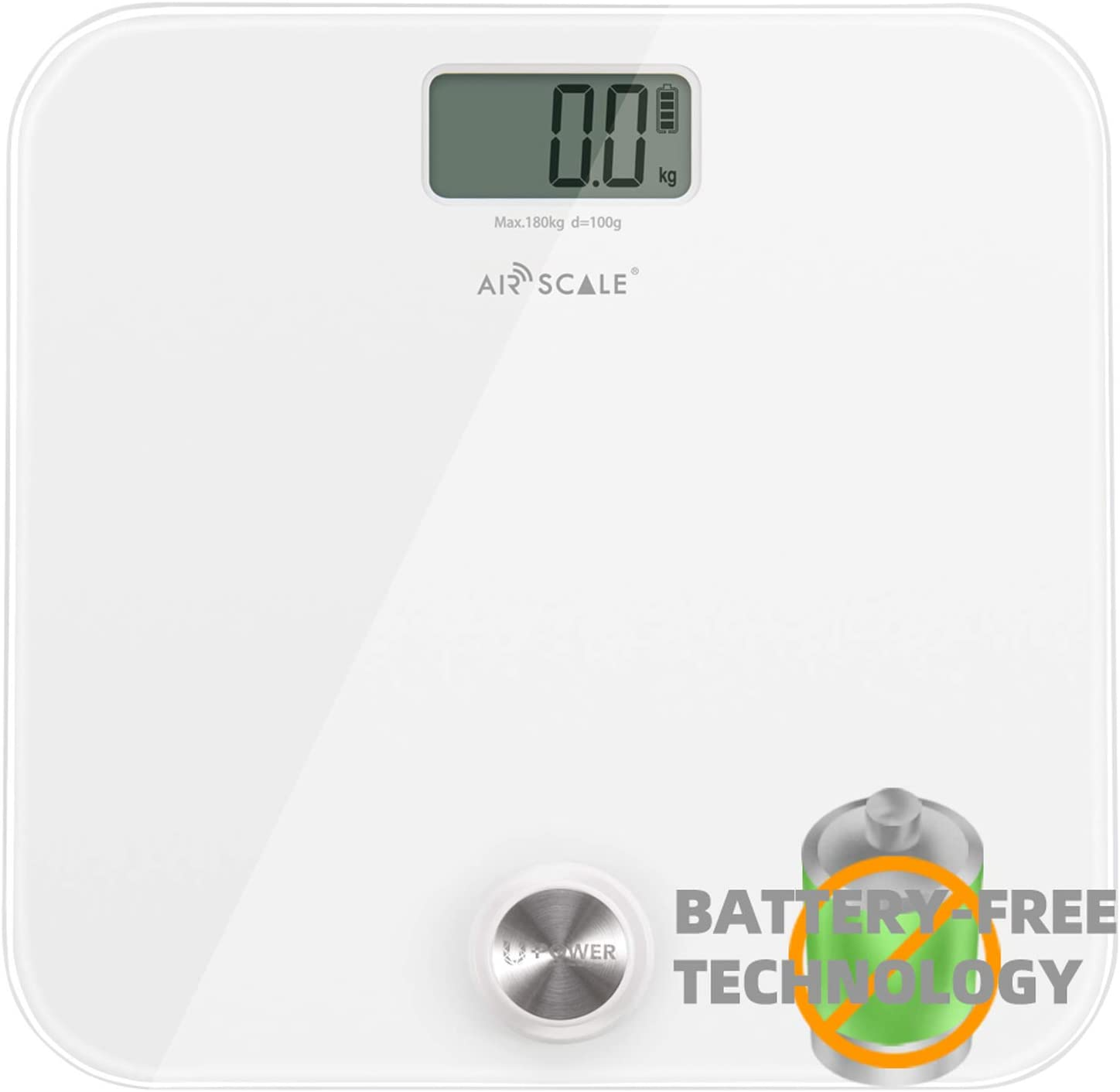 AIRSCALE Digital Bathroom Weight Scale for People,Battery-FreeUpdated U-Power Technology Highly Accurate BodyWeighing Scale Self-Generated Power,Large LCDDisplay,WidePlatform 400lbs White