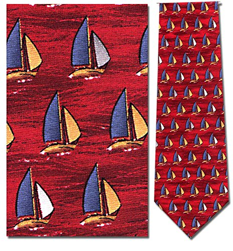 Mens 100% Silk Red Nautical Sailboats Necktie Tie Neckwear -