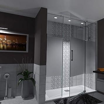 Surcia - Mampara de ducha de 3 puertas con puerta giratoria ajustable a medida, cristal de seguridad de 8 mm, arenado, revestimiento antical: Amazon.es: Bricolaje y herramientas