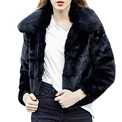 Amazon.com: Womens Faux Fur Plush Coat Solid Color Short Cardigan Full Sleeve Winter Parker Outwear: Clothing