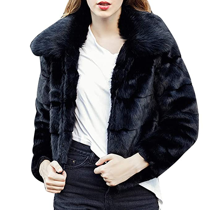 Amazon.com: Womens Faux Fur Plush Coat Solid Color Short ...