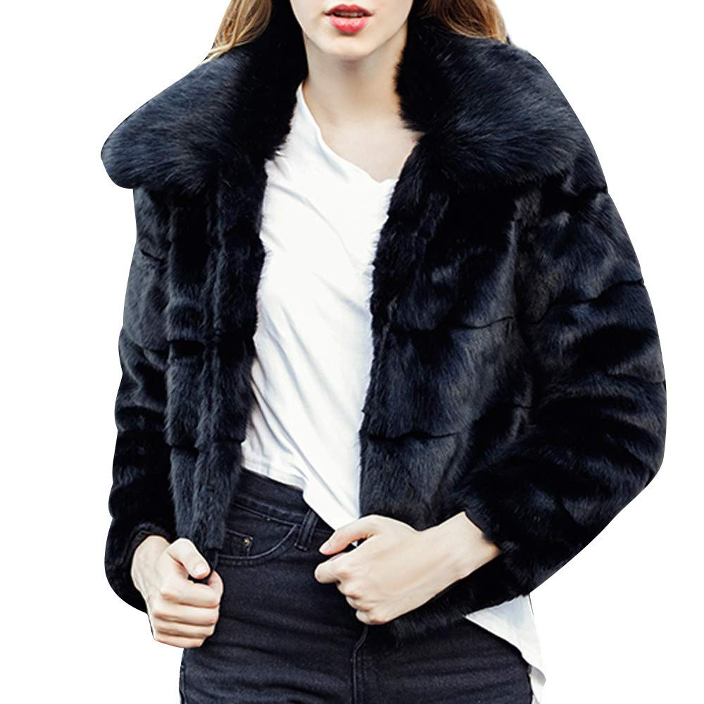 Kemilove Women Casual Solid Color Notch Collar Autumn Winter Faux Fur Coat Outwear Blouse