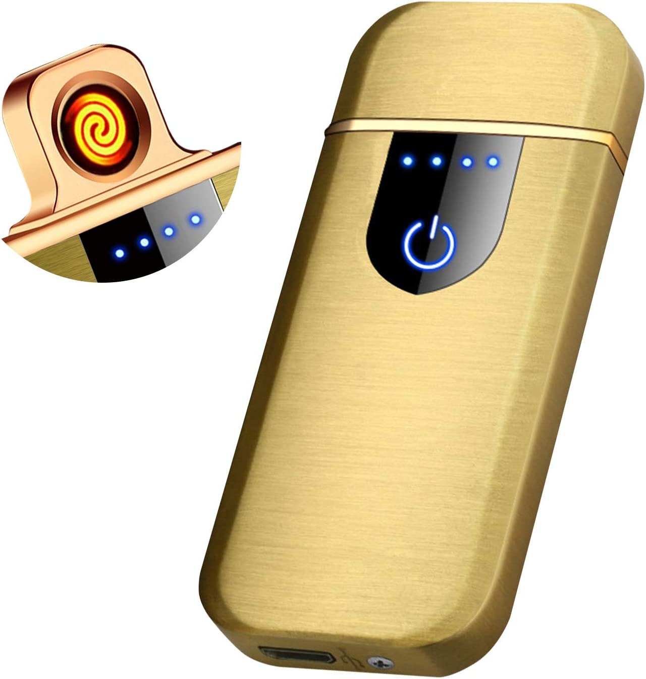 Auratrio Y26 Mechero eléctrico de Arco eléctrico, Plasma ARC Lighter, Recargable, Pantalla táctil electrónica, Llama Impermeable al Viento para ...