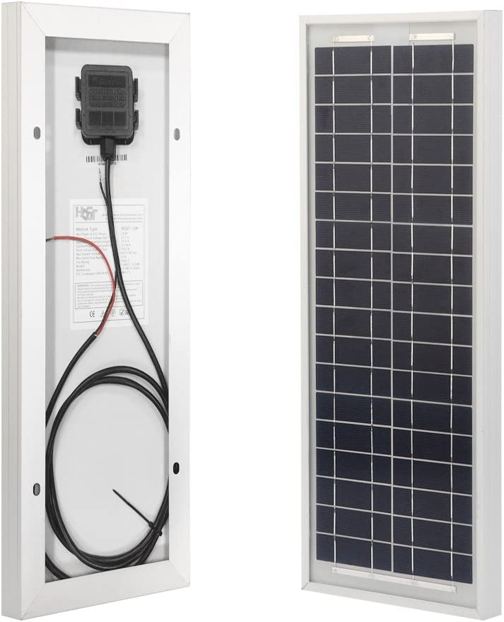 HQST 10W 12V Polycrystalline Solar Panel High Efficiency Module Off Grid PV Power for Battery Charging, Boat, Caravan, RV and Any Other Off Grid Applications