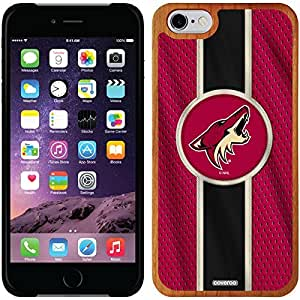 fashion case iphone 5s Madera Wood Thinshield Case with Arizona Coyotes Jersey Stripe Design