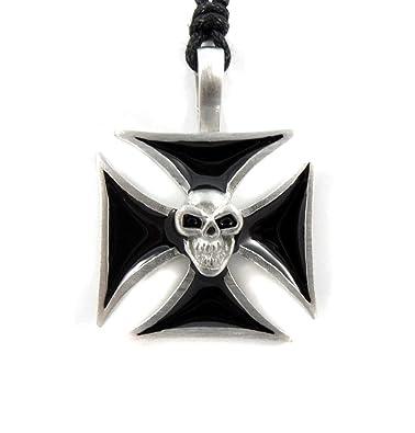 Urban Hq Pewter Black Maltese Cross And Skull Biker Pagan Gothic