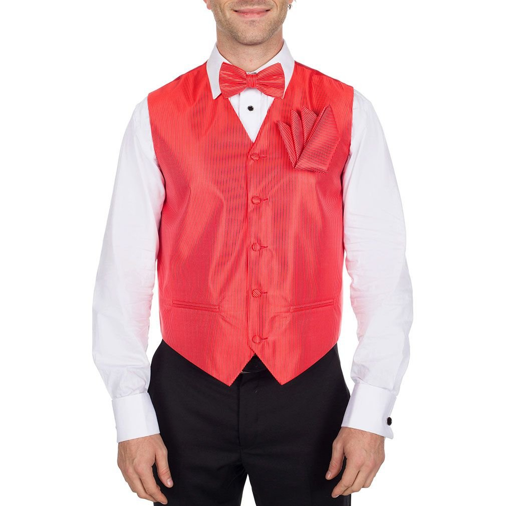 Pre-Tied Bow Tie and Hanky Set VTHA-4A Red Necktie Formal Vest