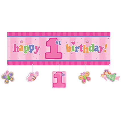 party banner fun at one happy first birthday girl