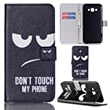 Ooboom® Samsung Galaxy A8 Case Flip PU Leather Cover Wallet Stand with Card Cash Holder Packet Magnetic Closure for Samsung Galaxy A8 - Don't Touch My Phone