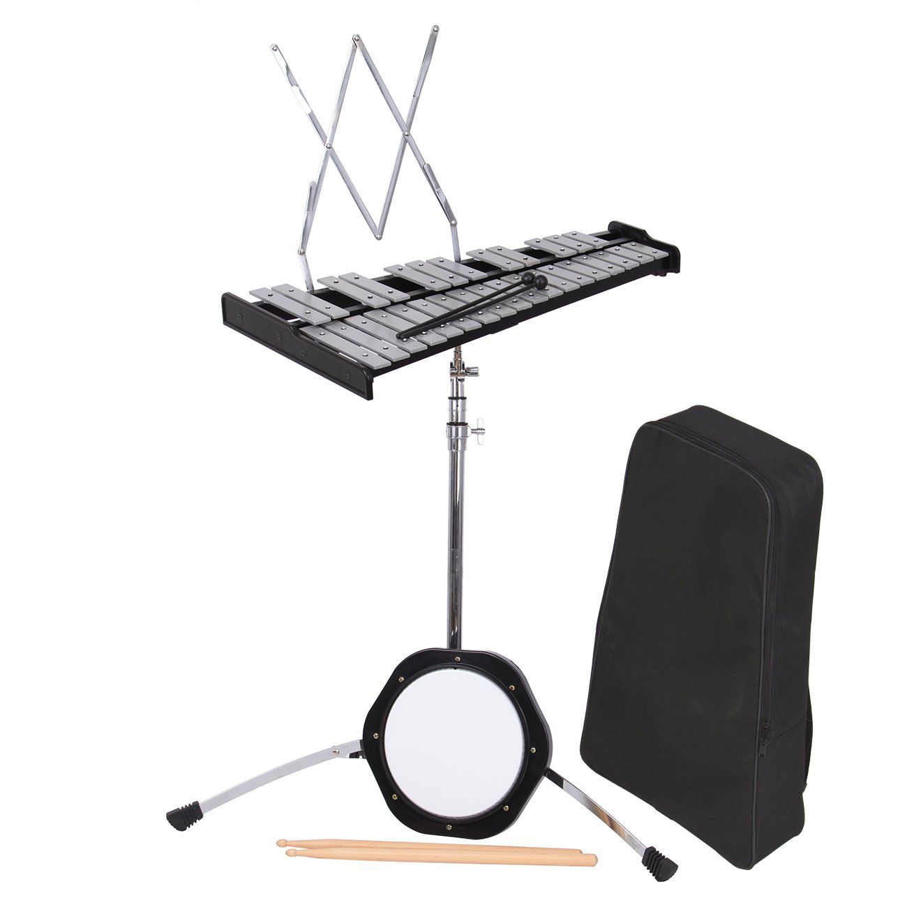 PanelTech Percussion Bell Kit Glockenspiel Bell Set 30 Note Mendini Case Educational Practice Pad Mallets,Sticks, Stand,Carry Case