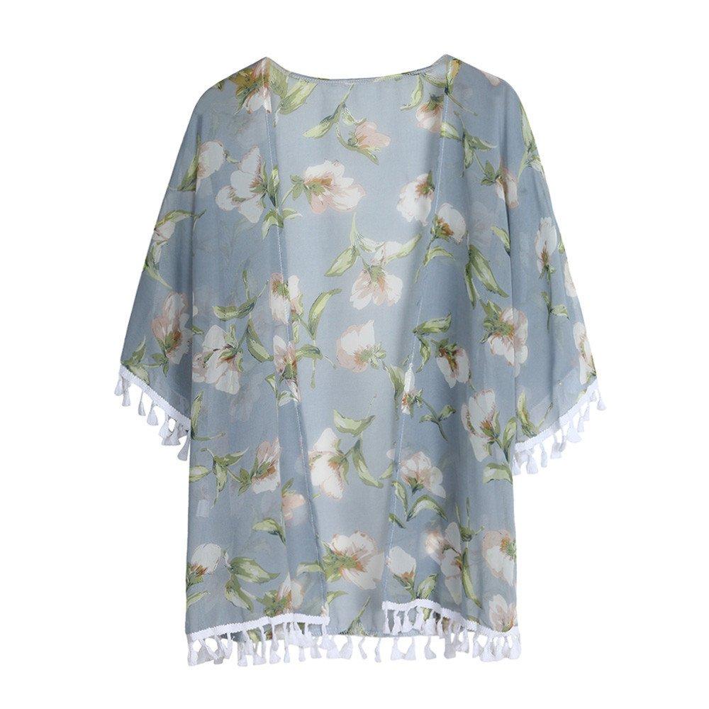 WUAI Womens Summer Boho Irregular Floral Print Open Front Cardigan Outwear Tops(Light Blue,Small)