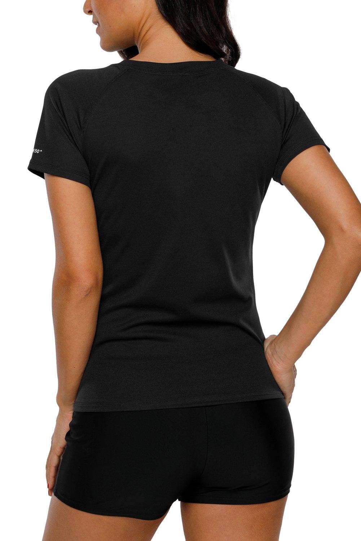 Vegatos Women Swim Shirt Short Sleeve UV Protection Rash Guard Swimsuit Top M by Vegatos (Image #3)