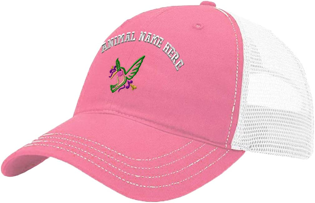 Custom Trucker Hat Richardson Mylar Hummingbird Embroidery Animal Name Cotton