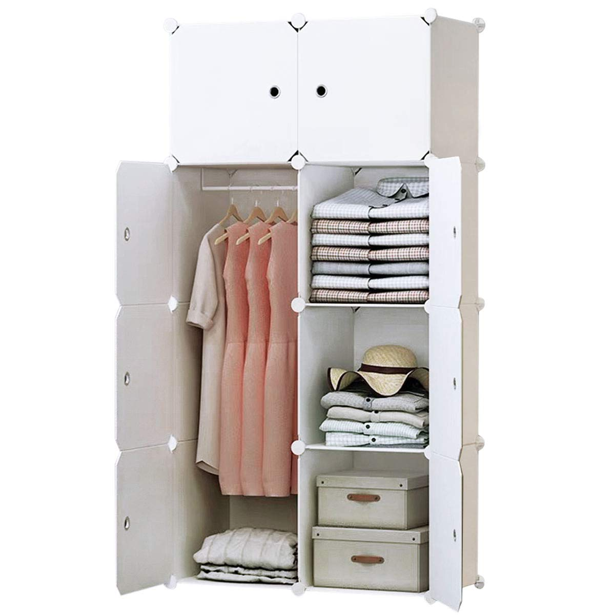 BRIAN /& DANY 8-Cube Clothes Closet Modular Storage Organizer Deeper Cubes for Larger Space Plastic Wardrobe with Doors /& 1 Hangers