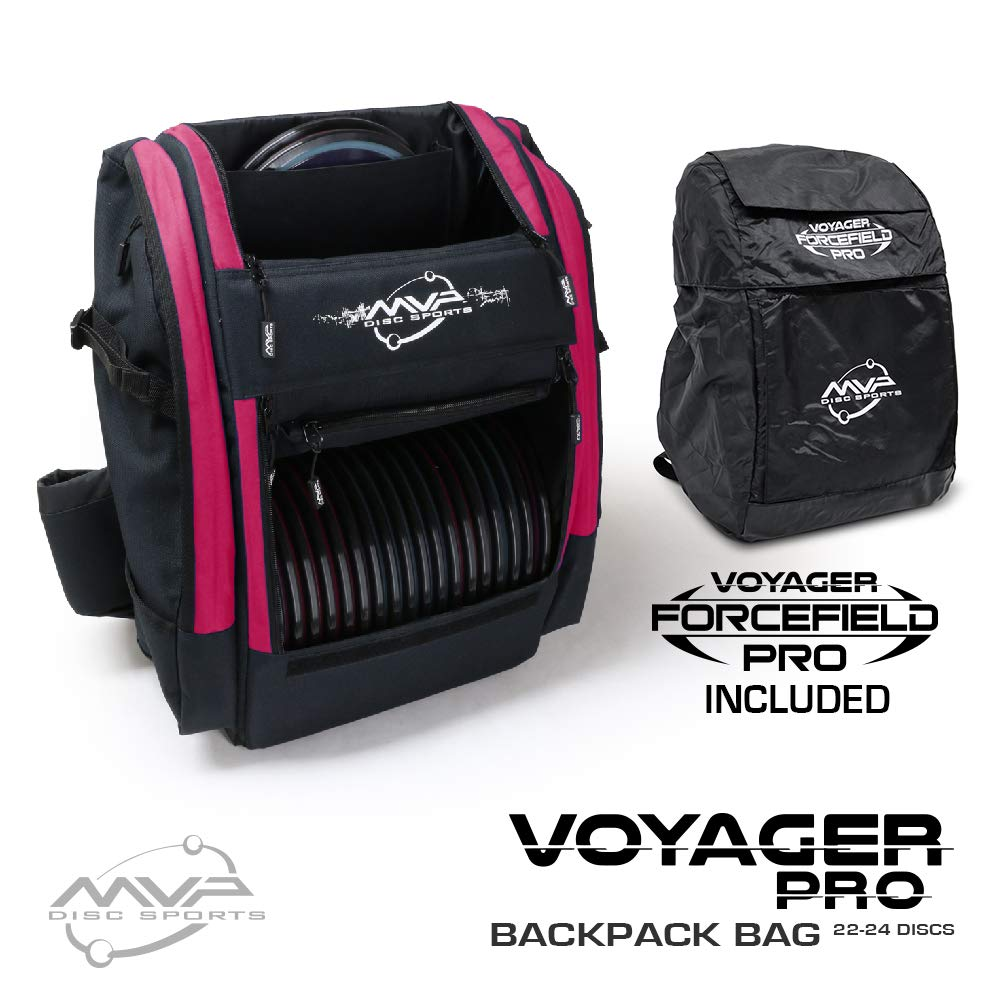 MVP Disc Sports Voyager Pro Backpack Disc Golf Bag with Forcefield Rainfly - Raspberry