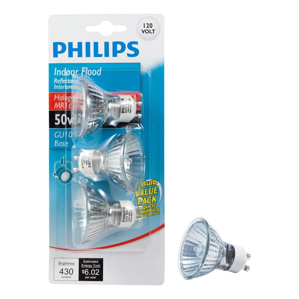 Philips 415794 Indoor Flood 50-Watt MR16 GU10 Base 120-Volt Light Bulb, 3-Pack