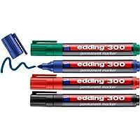 edding 300 permanente markeerstiften, zwart, rood, blauw, groen, 4 stiften, ronde punt 1,5-3 mm, waterbestendig…
