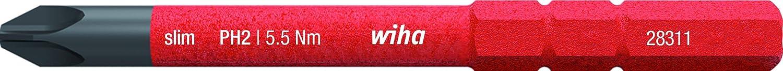 SL//PH2 x 75 mm f/ür tiefliegende Schrauben Allrounder f/ür Elektriker 34588 Wiha Bit slimBit electric PlusMinus//Phillips
