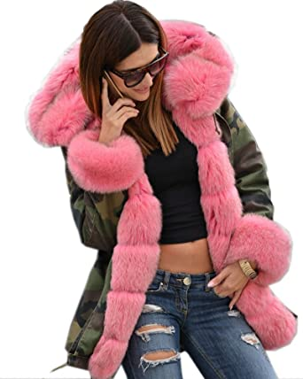 Amazon.com: Roiii Womens Hooded Camouflage Warm Winter Coats Faux ...