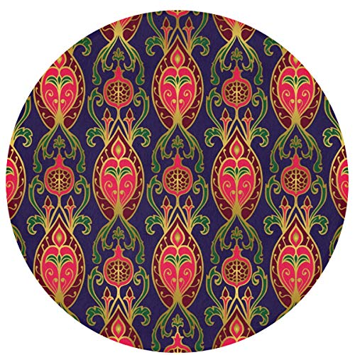Pomduct European Retro Pattern Wallpaper Customized Modern Round Bathroom Mat Soft and Non-Slip for Indoor Home Decoration