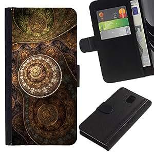 """Samsung Galaxy Note 3 III N9000 N9002 N9005 , la tarjeta de Crédito Slots PU Funda de cuero Monedero caso cubierta de piel ("""" Wallpaper Drawing Pattern Art Structure"""")"""