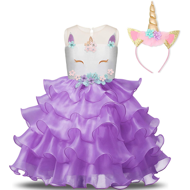 NNJXD Girl Unicorn Flower Ruffles Cosplay Costume Pageant Party Princess Dress with Headband Size (140) 6-7 Years Purple