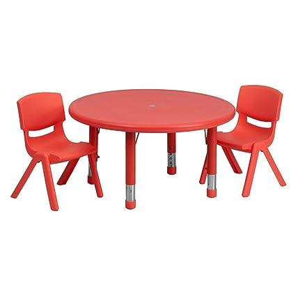 Amazoncom 33 Round Adjustable Plastic Activity Table Set With 2