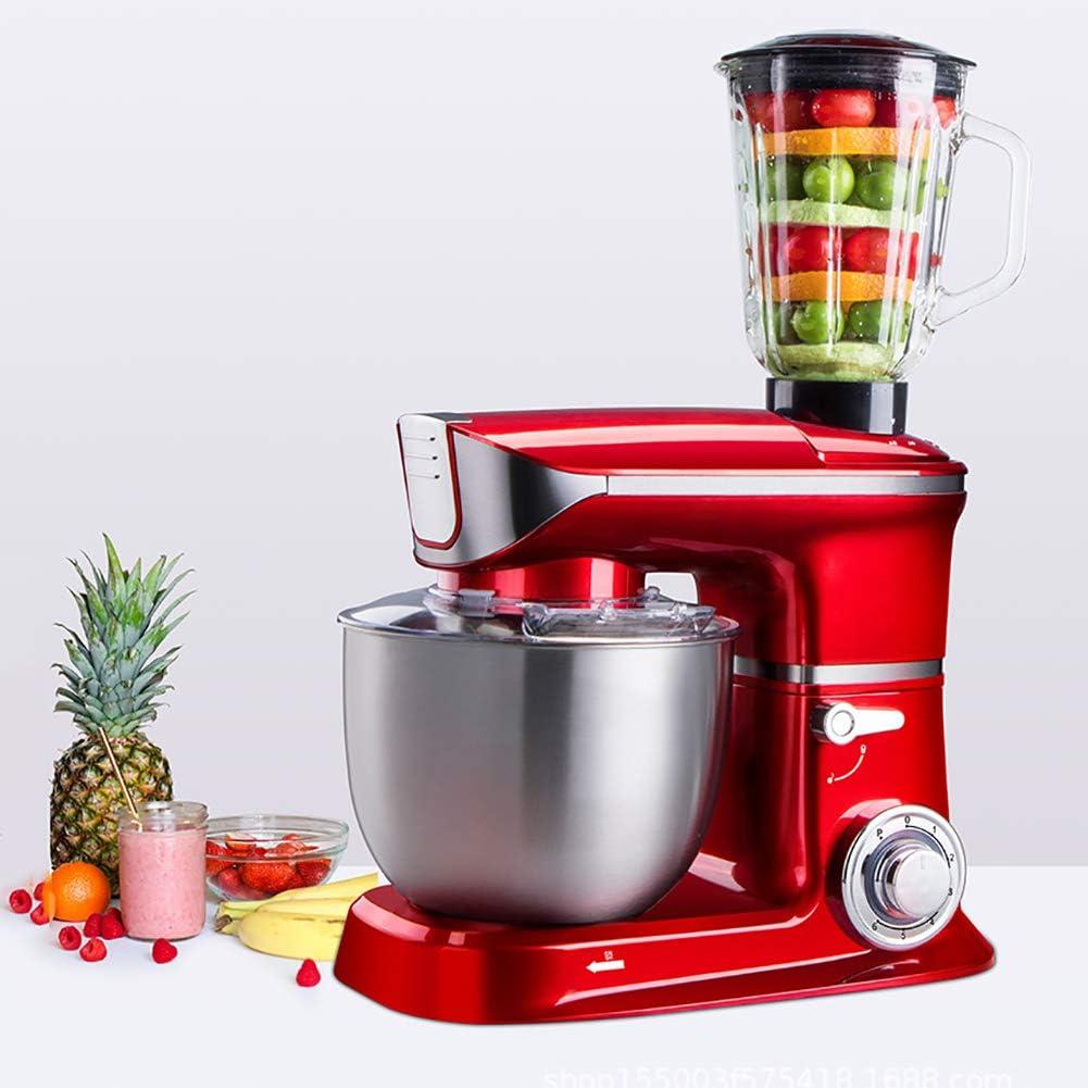 YLEI 3 en 1 Multifuncional Batidora Amasadora, Licuadora Exprimidora de Carne, Batidora de Vaso de Acero Inoxidable con Tazón para Mezclar Harina de Gran Capacidad 5L, 1000 W(Color Rojo): Amazon.es: Deportes y