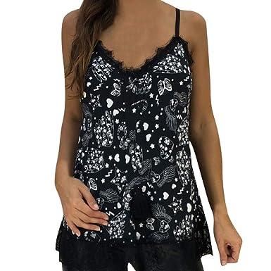 e7814daa37a BSGSH Women s Summer Butterfly Tank Tops Spaghetti Strap Lace Camisoles  Tunic Sleeveless Shirt (S