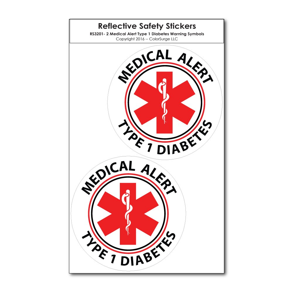 Amazon com two small medical alert type 1 diabetes reflective decals automotive