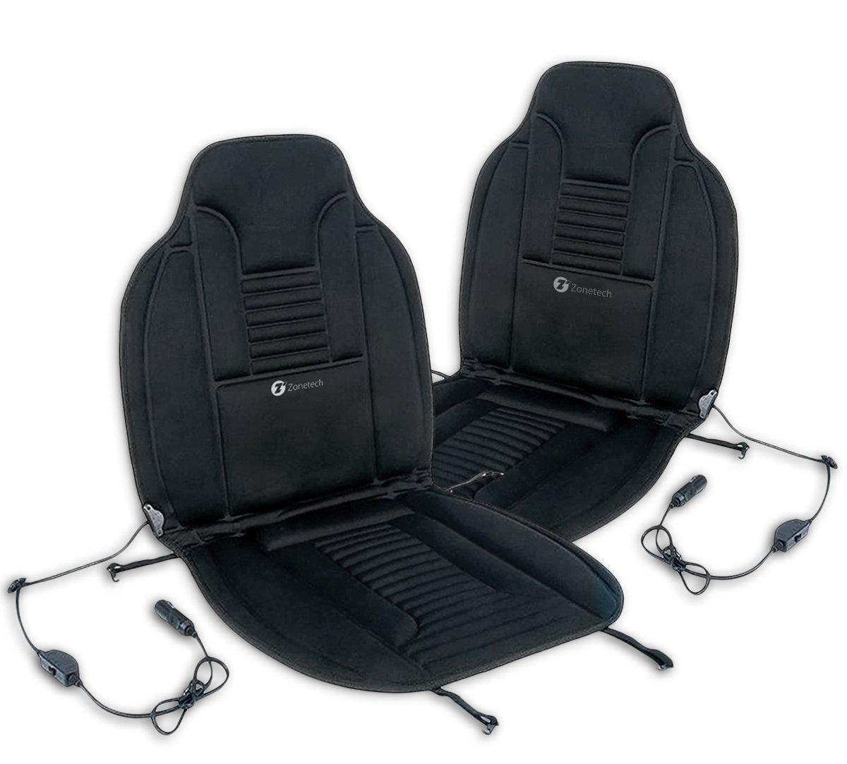 Zone Tech 2x Heated Car Van Seat Chair Cushion 12V Heating