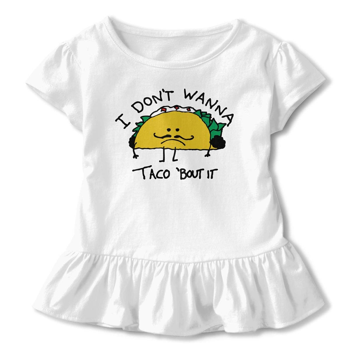 ZP-CCYF I Dont Wanna Taco Bout It Toddler Baby Girl Ruffle Short Sleeve T-Shirt Soft Cotton T Shirts