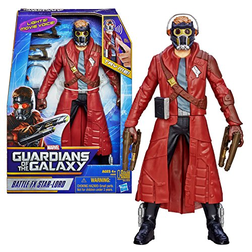 """Hasbro Year 2013 Marvel """"Guardians of the Galaxy"""" Movie Series 12 Inch Tall Electronic Action Figure - BATTLE FX STAR-LORD with Light Up Eyes and Sounds Plus 2 Quad Blasters and Walkman with Headphones"""