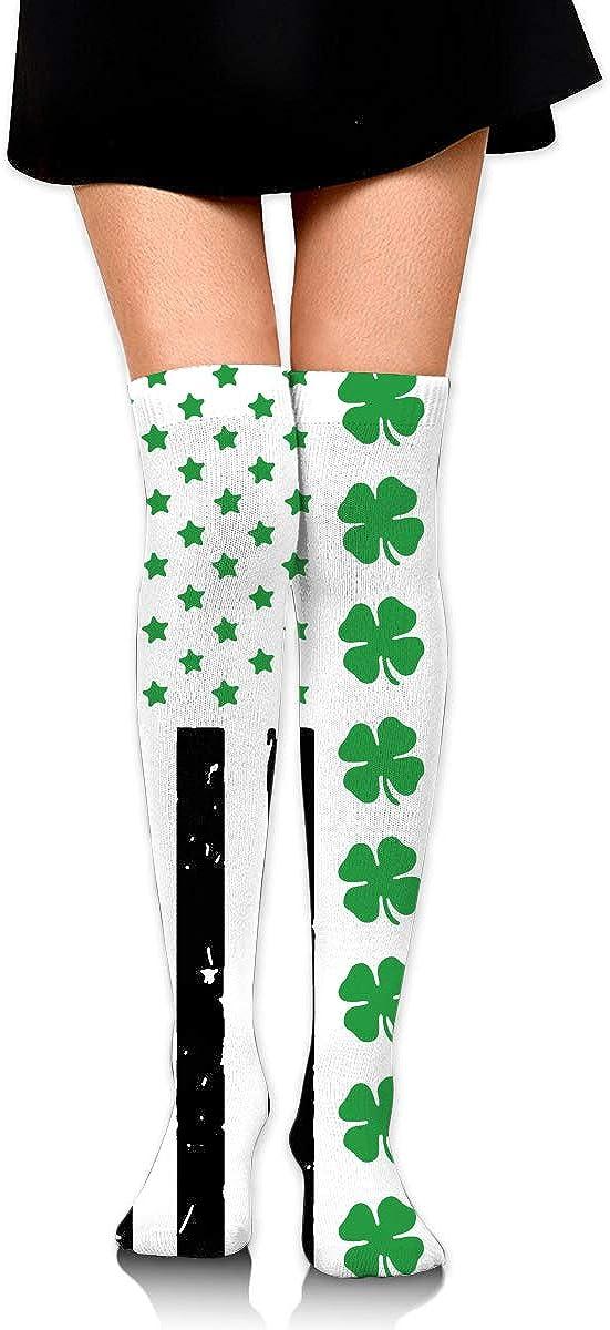 Big Irish American Flag Long Socks For Women Womens Knee High Socks Best For Flight Travel 2 Pairs