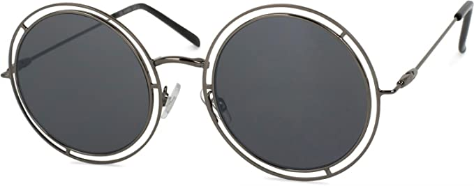 dd941ece98312f styleBREAKER Lunettes de soleil réfléchissantes avec verres ronds et plats  et cerclage double, unisexe 09020067