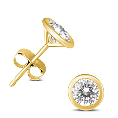 83deb1bbda81 Image Unavailable. Image not available for. Color  3 8 Carat TW Bezel Diamond  Solitaire Stud Earrings in 14k Yellow Gold