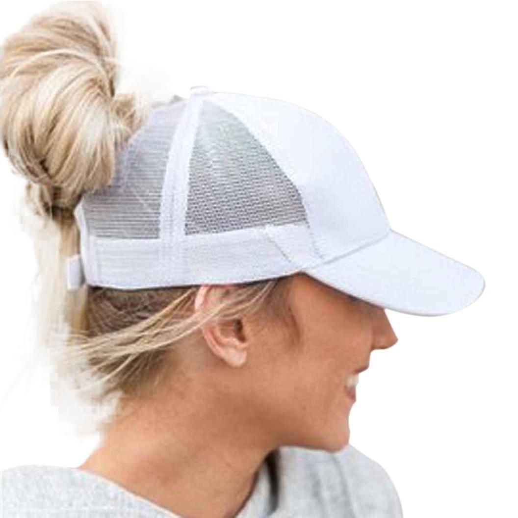 Baseball Cap, Shybuy Trucker Hat Plain Ponytail Baseball Visor Cap Adjustable Ponytail Cap (White, 54~62cm)