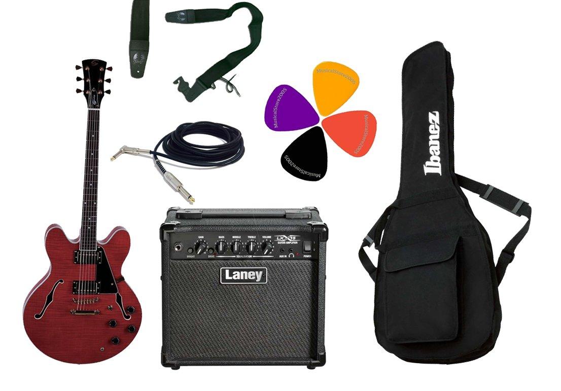 Guitarra eléctrica Semiacústica Double Cut/Laney Combo 15 W y accesorios: Amazon.es: Instrumentos musicales