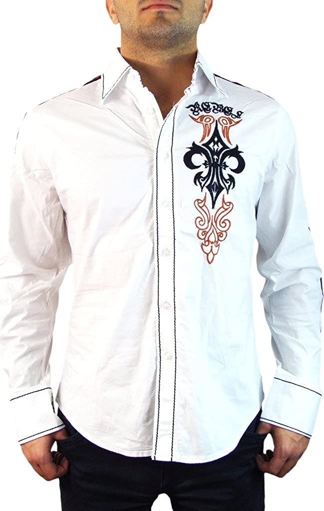 Rebel Spirit Fleur Patch Long Sleeve Woven Button Down Shirt For Men