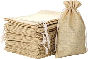 FLAIRYLAND 3.7 X 5.3 inch Linen Burlap Bags with Jute Drawstring for Gift Bags Wedding Party Favors Jewelry Pouch, Christmas Birthday Presents, Snack Sacks and DIY Craft Arts Projects, Lot of 25